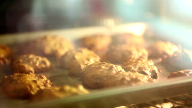 cu cookies baking in oven, yarmouth, maine, usa - baking stock videos & royalty-free footage