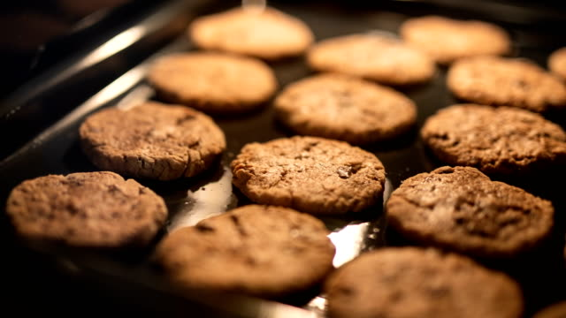 cookies in the oven - biscuit stock videos & royalty-free footage