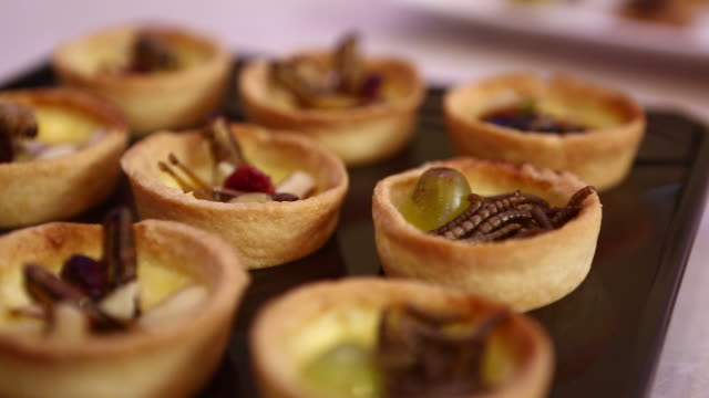 vidéos et rushes de cookies made with edible insects such as locust, mealworm, larva - assiette