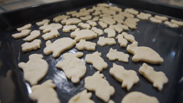 cookies on buttered baking tray - baking tray stock videos & royalty-free footage