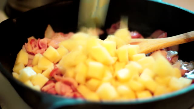 cooking bacon - cast iron stock videos and b-roll footage