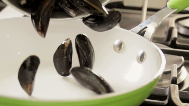 Cooking Blue Mussels Dish