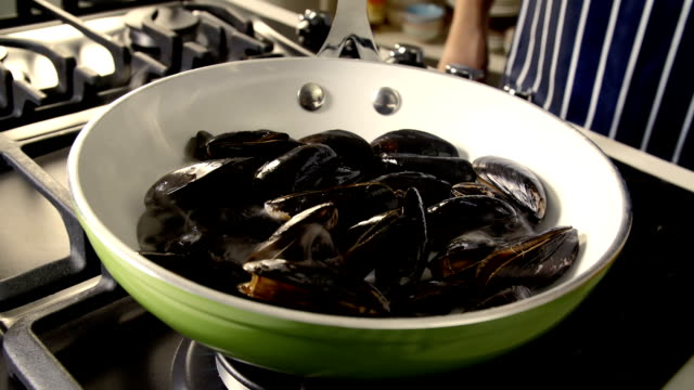 cooking blue mussels dish - mollusc stock videos & royalty-free footage