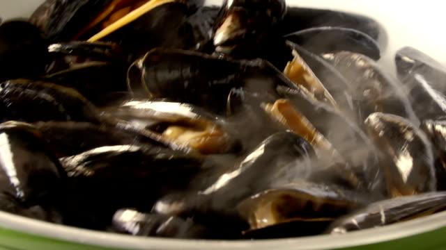 ブルーのムール貝のお料理 - ムール貝点の映像素材/bロール