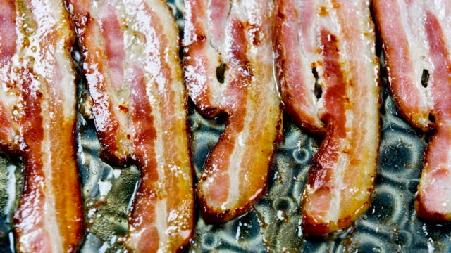 cooking breakfast fresh bacon - lubrication stock videos & royalty-free footage