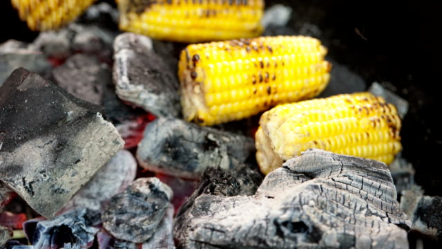 Cooking corn at charcoal