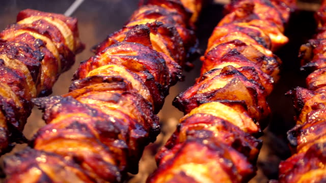 Cooking delicious skewers on barbecue grill in slow motion
