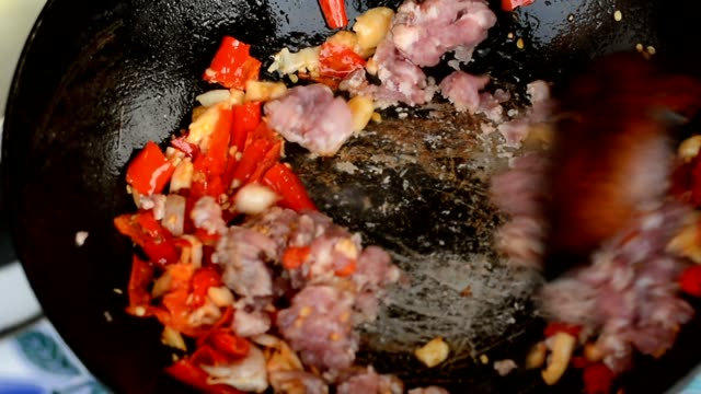 Cooking fried minced pork