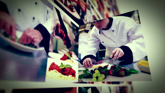 Cooking in commercial kitchen animation montage