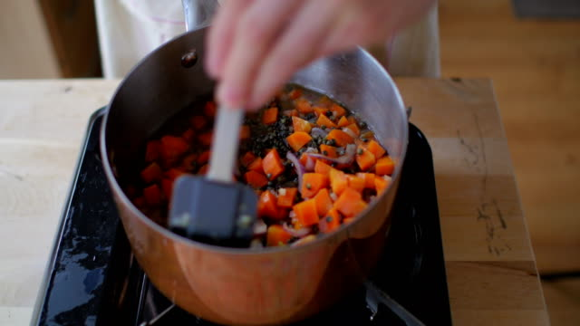 クッキングレンズマメのシチュー - 煮込み料理点の映像素材/bロール