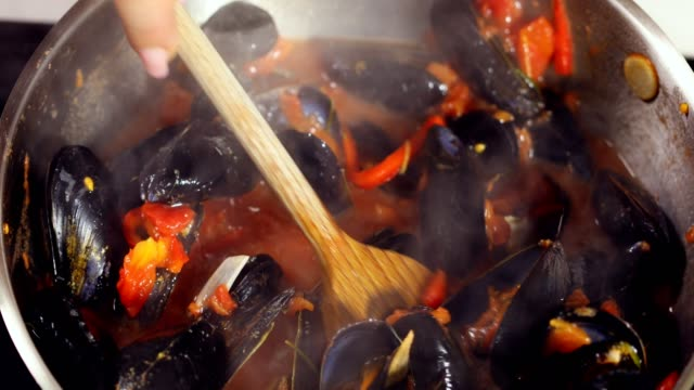Cooking Mussels Dish at Home