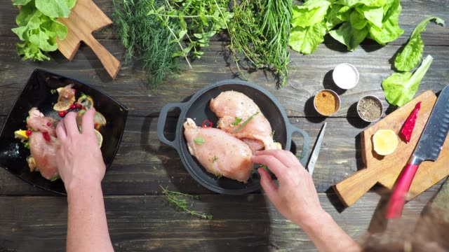 cooking of chicken breast fillet - marinated stock videos & royalty-free footage