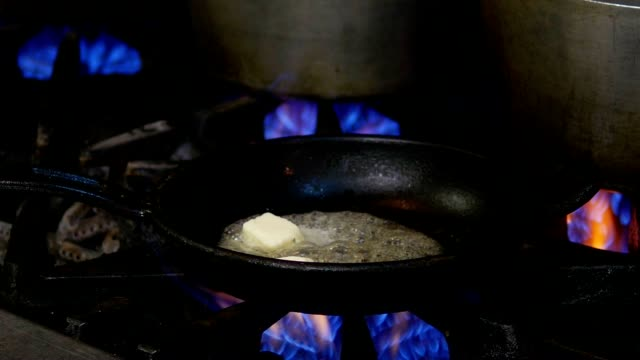 Cooking Pan, Butter, Flame and Stove