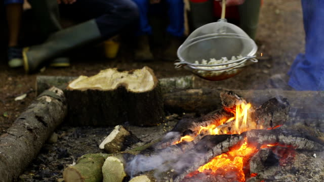 cooking popcorn on the camp fire - popcorn stock videos & royalty-free footage