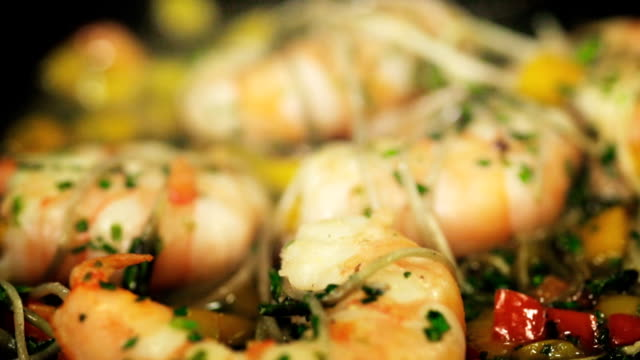 cooking prawns, shrimp. - seafood stock videos & royalty-free footage