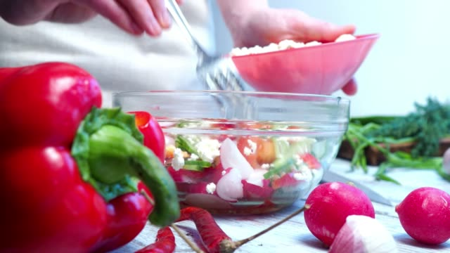 cooking salad of fresh vegetable - dill stock videos and b-roll footage