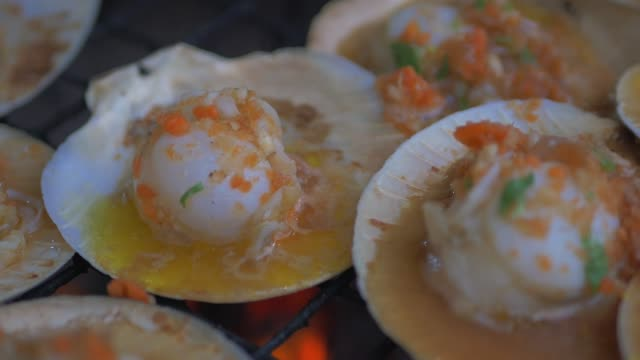 cooking scallops on the grill - gratin stock videos & royalty-free footage