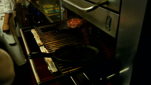 Cooking Steaks in a resturant