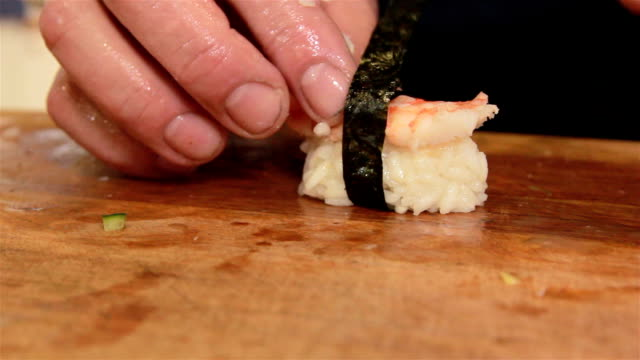 cooking sushi - nigiri stock videos and b-roll footage
