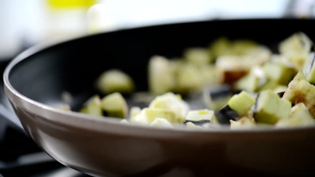 cooking vegetables in pan