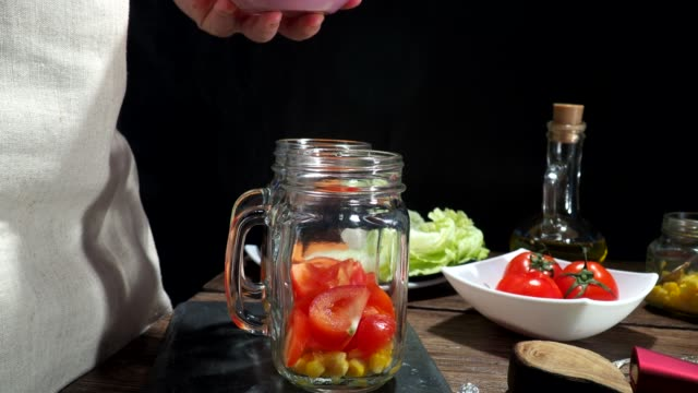 cooking vegetarian salad - sweet onion stock videos and b-roll footage