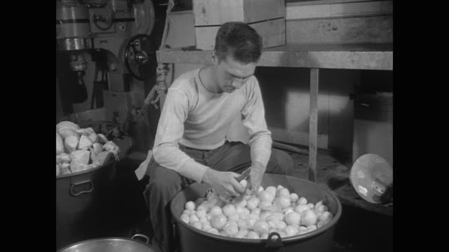 cooks prepare large quantities of food for hungry soldiers aboard uss wakefield - oven mitt stock videos and b-roll footage
