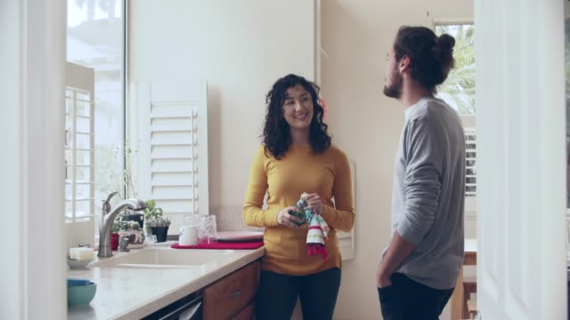 ws cool couple doing dishes together - drying stock videos & royalty-free footage