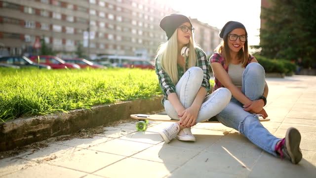 Cool teen skater friends