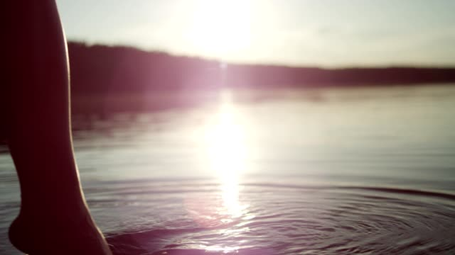 Cooling off in the lake. Sunset