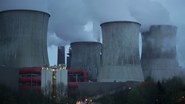 cooling tower - air pollution stock videos and b-roll footage