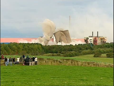 cooling towers at calder hall nuclear power station demolished england cumbria ext cooling towers at calder hall the world's first full scale nuclear... - sellafield nuclear power station stock videos & royalty-free footage