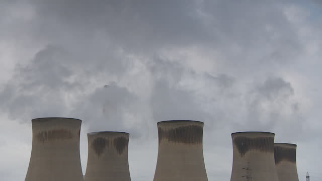 cooling towers at power station - condensation stock videos & royalty-free footage