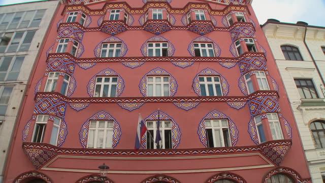 MS LA TD TU Cooperative Economic Bank (art nouveau-modern style) and Miklosiceva street, Ljubljana, Slovenia