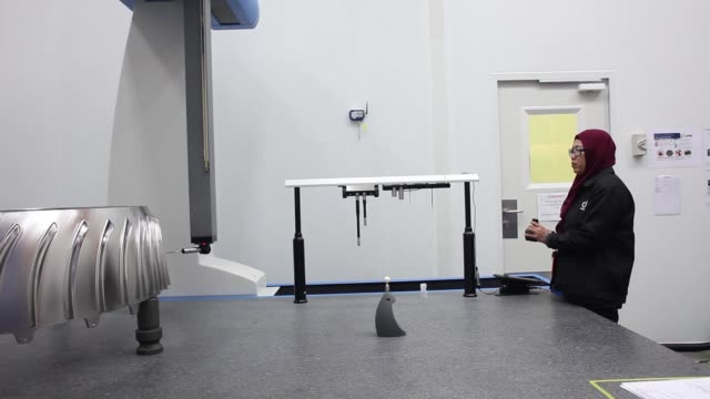 A coordinate measuring machine operates at the manufacturing facility of UMW Aerospace Sdn a unit of UMW Holdings Bhd in Serendah Selangor Malaysia...