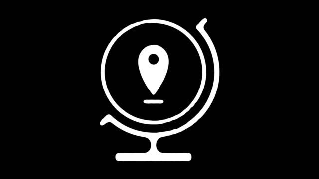 gps koordinaten blackboard linie animation mit alpha - kompass stock-videos und b-roll-filmmaterial
