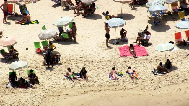 copacabana beach  - aerial view - rio de janeiro, rio de janeiro, brazil - copacabana stock videos & royalty-free footage