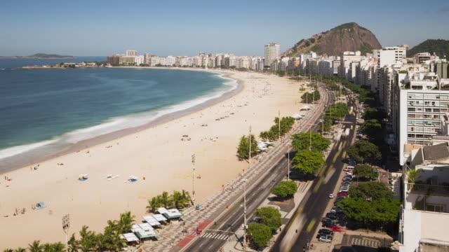 tl, ws, ha copacabana beach and avenida atlantica / rio de janeiro, brazil - avenida stock videos & royalty-free footage