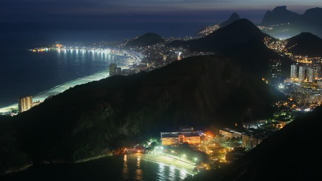 t/l, ws, ha, copacabana beach and cityscape, day to night, rio de janeiro, brazil - copacabana stock videos & royalty-free footage