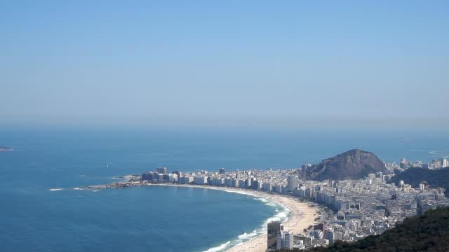 copacabana beach and ipanema beach in rio de janeiro, brazil - copacabana beach stock videos & royalty-free footage