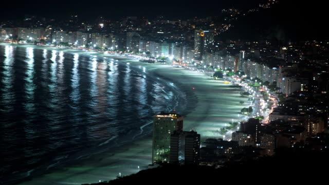 ws t/l copacabana beach at night / rio de janeiro, brazil - copacabana stock videos & royalty-free footage
