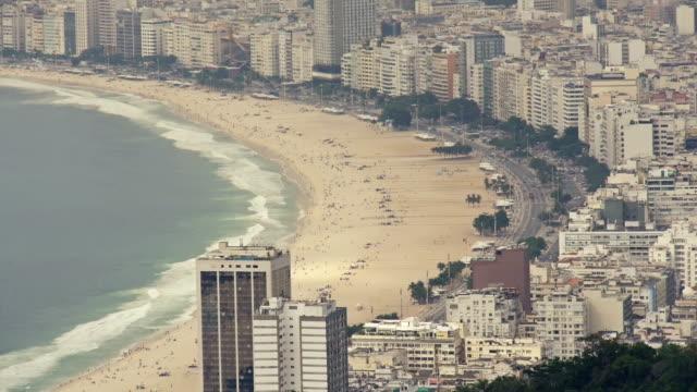 copacabana beach in rio de janeiro from above - copacabana beach stock videos & royalty-free footage