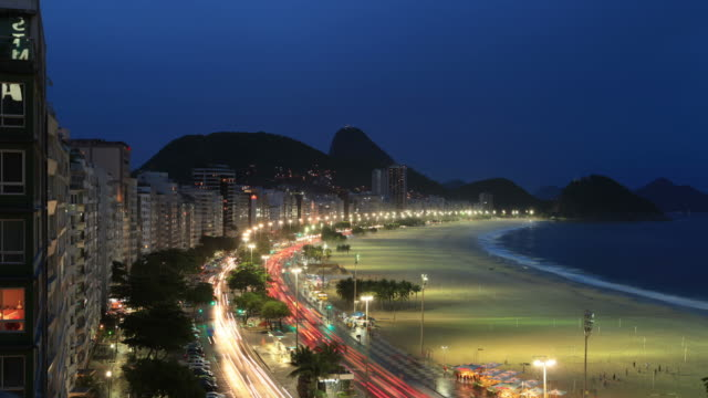 copacabana beach time lapse in rio de janeiro - copacabana stock videos & royalty-free footage