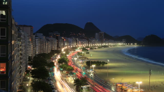 copacabana beach time lapse in rio de janeiro - panoramic stock videos & royalty-free footage