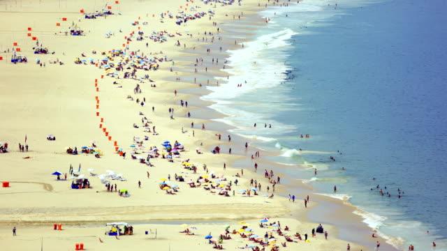 copacabana beachgoers - copacabana beach stock videos & royalty-free footage