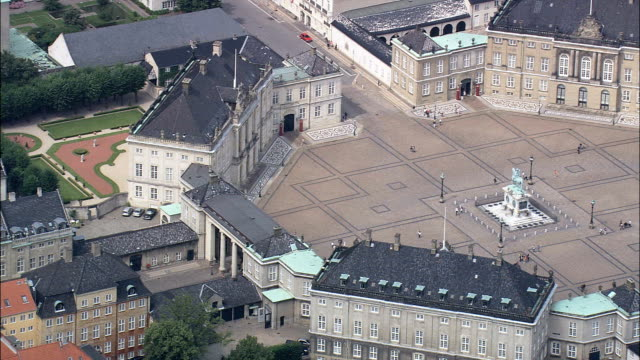 copenhagen - amelienborg  - aerial view - capital region, copenhagen municipality, denmark - capital region stock videos and b-roll footage