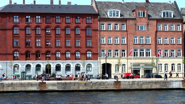 copenhagen canal with people in summer - canal stock videos & royalty-free footage