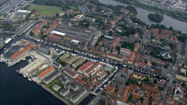 copenhagen - christianhavn  - aerial view - capital region, copenhagen municipality, denmark - capital region stock videos and b-roll footage