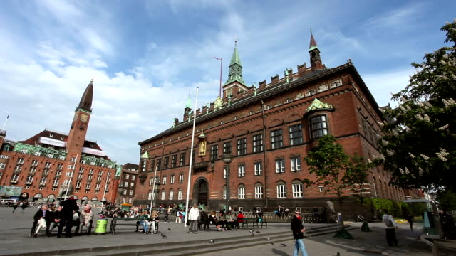 copenhagen city hall - famous place stock videos & royalty-free footage