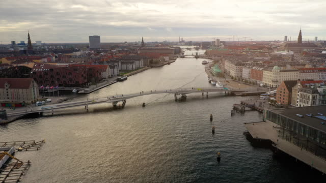 copenhagen cityscape: bicycle bridge - bridge built structure stock videos & royalty-free footage