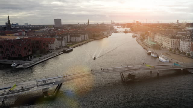 copenhagen cityscape: bicycle bridge - copenhagen stock videos & royalty-free footage